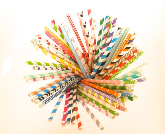 Reserved for Hannah…2000 Short Paper Straws, Assorted Colors / Designs (see description)