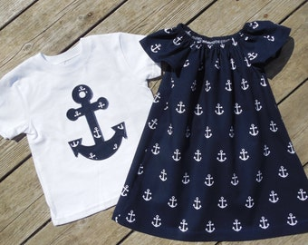 Brother and Sister Matching Anchor Outfits - Girl's Peasant Dress with Brother Appliqued Anchor Shirt