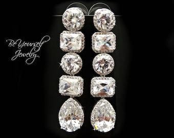 Long Bridal Earrings Teardrop Bride Earrings Cubic Zirconia Wedding Jewelry White Crystal Statement Earrings CZ Bridal Accessories Gift