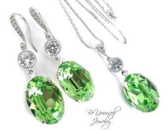 Peridot Wedding Jewelry Light Green Bridal Earrings Pastel Bride Necklace Swarovski Crystal Pale Green Bridesmaid Gift CZ August Birthstone