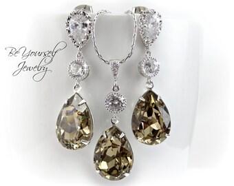 Mocha Bridal Earrings Taupe Teardrop Bride Necklace Wedding Jewelry Swarovski Crystal Greige Earrings Beige Brown Pastel Bridesmaid Gift CZ