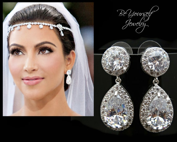 White Crystal Wedding Earrings - 60.5KB