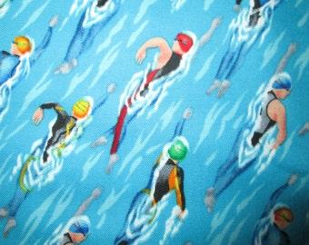 Swimming Racing Swim Sports Compete Blue Colors Cotton Fabric Fat Quarter or Custom Listing