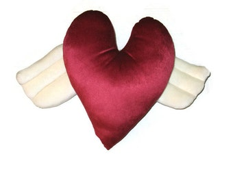 Hot Pink Winged Heart Pillow  Valentines Day