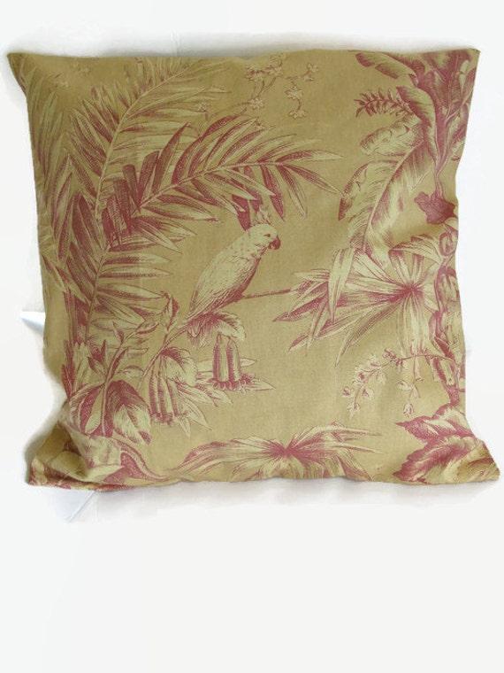 "Pillow Cover Parrot Print 18"""