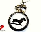 Dachshund Silhouette Necklace bronzecolored - sausage dog animal pug mother aunt sister daughter cousin friend jewelry gift