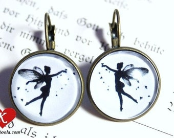 Tiny Fairy Silhouette Earrings bronzecolored - Fay elf elves tale special gift sister best friend