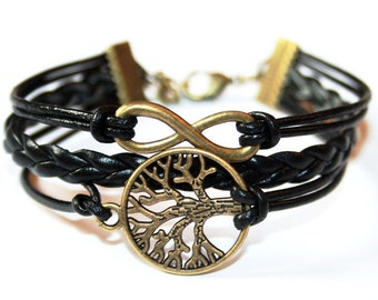 Eternity Infinity & Tree of life Leather Bracelet bronzecolored - friendship forever best friend sister mother