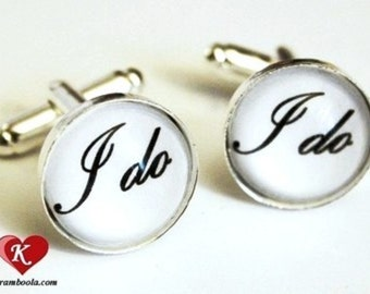 I do Cufflinks silvercolored - wedding bachelor party groomsman witness marriage groom boyfriend friend husband father brother uncle gift