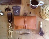 Ready to Ship! Leather Pipe Pouch -- The Gent in English Tan with Antique Brass hardware - Made in USA