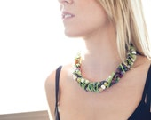 """Multi Strand Beaded Chain Wrapped Necklace w/ Vintage Green Enamel Chain - """"Buffy"""""""