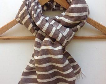 Scarf-Cotton scarf-Wool scarf-Men Scarf Beige khaki & White stripes-winter stole scarves- Ethiopian Handwoven scarf