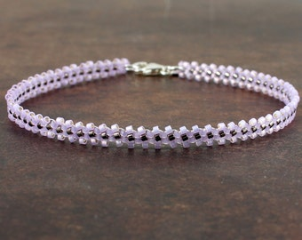 Purple Anklet - Beaded Jewelry - Seed Bead Anklet - Summer Jewelry - Purple Daisy Chain Anklet - Ankle Bracelet