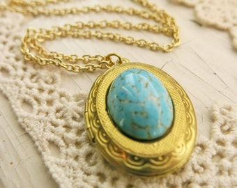 Locket Necklace Oval Brass Locket Vintage Locket Turquoise Jewelry Vintage Antique Lockets