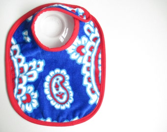 EcoBib--Adjustable Snap Closure--Vibrant Red & Blue Design--Ready to Ship