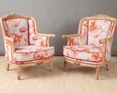 2 x vintage armchairs - orange rose