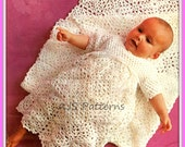 PDF Crochet Pattern for Beautiful Baby Christening Gown & Shawl - Instant Download