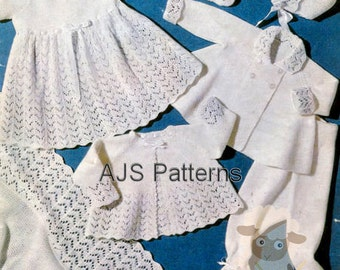 PDF Knitting Pattern for Baby Layette Set with an Easy To Knit Shawl  - Instant Download - Vintage