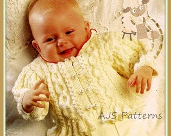 "PDF Knitting Pattern for Pretty Design Ruffled Cardigan 16-26"" Chests - Instant Download"