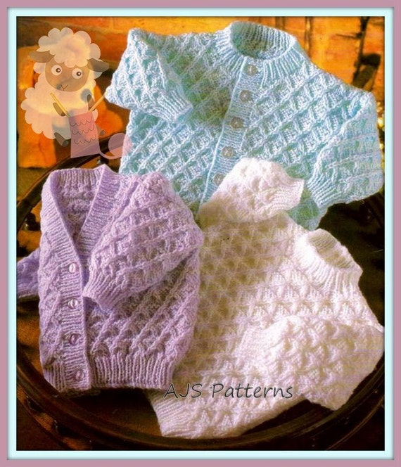 Knitting Pattern Chest Sizes : PDF Knitting Pattern for Cardigan & Sweater to fit Chest sizes