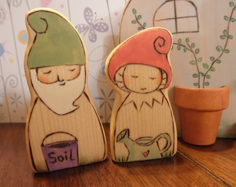 SUMMER SALE-Wood Toys-Gnome Couple -Waldorf Inspired