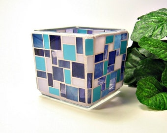 Stained glass mosaic votive candle holder blue and purple