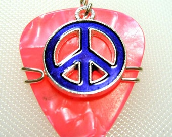 Pink Guitar Pick with a Purple Peace Sign Charm