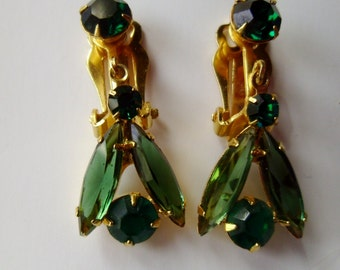 Earrings Vintage Green Rhinestones Navettes Goldtone Clip earrings