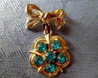 Vintage Turquoise Rhinestone Pendant Brooch Pin Goldtone Bow Flower