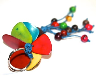 Tagua and Acai Seed Keychain/ Colorful Key-chain/ Teacher's Gift Idea