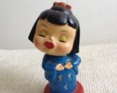 Vintage  Kokeshi Bobblehead Doll. Vintage Kiss Me, Norcrest Bobble Head, Japan.  Vintage Modernist. Mod, Mid century.