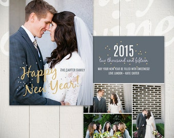 New Years Card Template: Confetti A - 5x7 New Year Card Template for Photographers