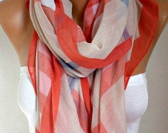 Plaid Scarf, Spring Summer Scarf, Cowl Scarf Oversized Shawl Cotton Scarf Gift Ideas For Her Women Fashion Accessories Christmas Gift