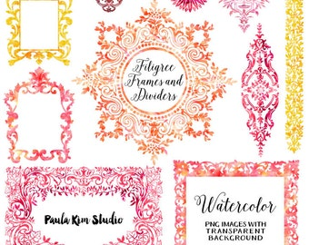 Watercolor Clipart, Digital Frames, Flourish Clip Art, Wedding Invitation Clip Art, Instant Download