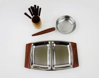 Vintage Teak Wood and Stainless Steel Serving Set