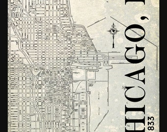 Chicago Street Map Vintage Print Poster Titled Gray Grunge