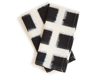 Handwoven Checked Double Ikat Napkin Set White