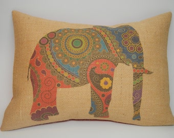 Elephant Burlap Pillow, Farmhouse pillows, INSERT INCLUDED