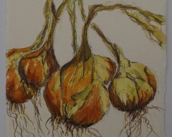 Onions Watercolour, Vegetable Painting, Original Watercolour, String of Onions, Kitchen Art