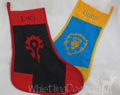 Warcraft Faction Horde or Alliance Embroidered Handmade Stocking