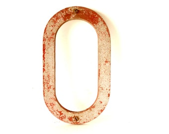 """Vintage Industrial Metal Letter """"O"""" Marquee Sign, 10 inches tall (c.1950s) - Industrial Decor, Altered Art Assemblage Supply"""
