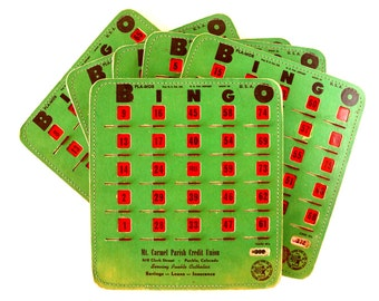 Vintage BINGO Board Cards in Green with See-Thru Red Shutters, PLA-MOR, Set of 6 (1950s) N1 - Game Room Decor, Collectible, Altered Art
