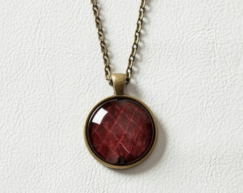 Genuine Python Necklace, Red Snakeskin Pendant, Antique Brass Chain, Glass Photo Jewelry Style