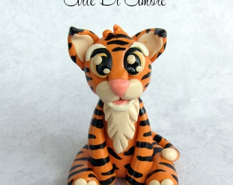 Tongo the Tiger Birthday or Baby Shower Safari Animal Clay Cake Topper or Figurine