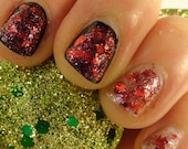 A Cherry Little Christmas Winter Holiday/ Christmas 2014 Indie Nail Polish Red and Pink Glitter