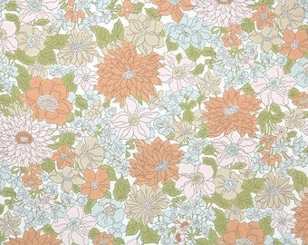Vintage Wallpaper by the Yard 70s Retro Wallpaper - 1970s Pink Blue and Peach Floral