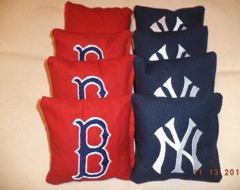 Cornhole bags 8 Boston Red Sox New York Yankees Embroidered bean bags ACA Regulation
