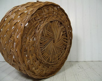 Vintage Large Round Natural Wicker Deep Decorator Basket - Rustic Hand Woven Strong Carry All with Braided Handle - Primitive OverSized Tote