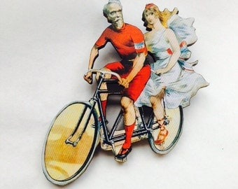 Tandum Victorian Cycling Gentleman and Lady couple on Bicycle,  Wooden Brooch Pin - Gift Laser Cut