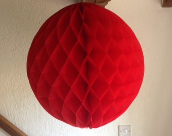 5 x RED 16 Inch Ball Large Paper Round Shaped Honeycomb Pom Pom For Wedding Decoration and Alice in Wonderland Birthday Party Themed Decor